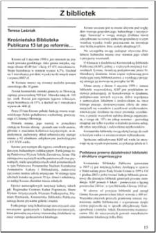 Krośnieńska Biblioteka Publiczna 13 lat po reformie...