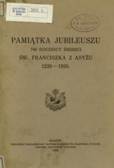 Pamiątka jubileuszu 700 rocznicy śmierci św. Franciszka z Asyżu 1226-1926