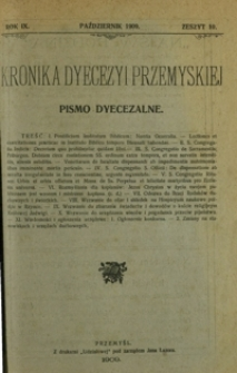Kronika Dyecezyi Przemyskiej : pismo dyecezalne. - R. 9, z. 10 (paźdz. 1909)
