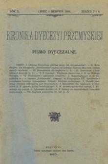 Kronika Dyecezyi Przemyskiej : pismo dyecezalne. - R. 10, z. 7/8 (lip./sierp. 1910)