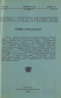 Kronika Dyecezyi Przemyskiej : pismo dyecezalne. - R. 11, z. 12 (grudz. 1911)