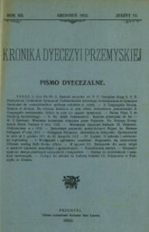 Kronika Dyecezyi Przemyskiej : pismo dyecezalne. - R. 12, z. 12 (grudz. 1912)