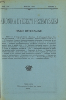 Kronika Dyecezyi Przemyskiej : pismo dyecezalne. - R. 13, z. 3 (marz. 1913)
