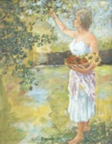 Kobieta z koszykiem jabłek [Dokument ikonograficzny]