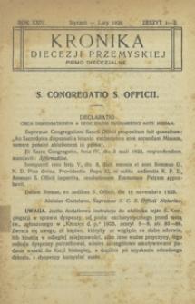 Kronika Diecezji Przemyskiej : pismo diecezjalne. - R. 24, z. 1/2 (stycz./luty 1924)