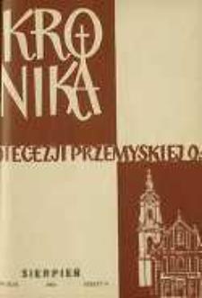 Kronika Diecezji Przemyskiej : pismo diecezjalne. - R. 46, z. 8 (sierp. 1960)