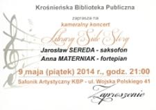 Kameralny koncert Library Side Story [Zaproszenie] : Jarosław Sereda - saksofon, Anna Materniak - fortepian
